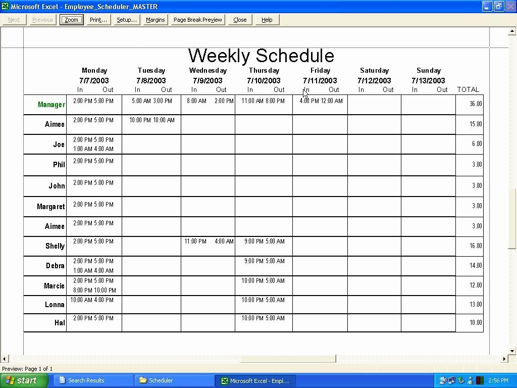Employee Weekly Schedule Template Free Inspirational Weekly Employee Schedule Template Excel
