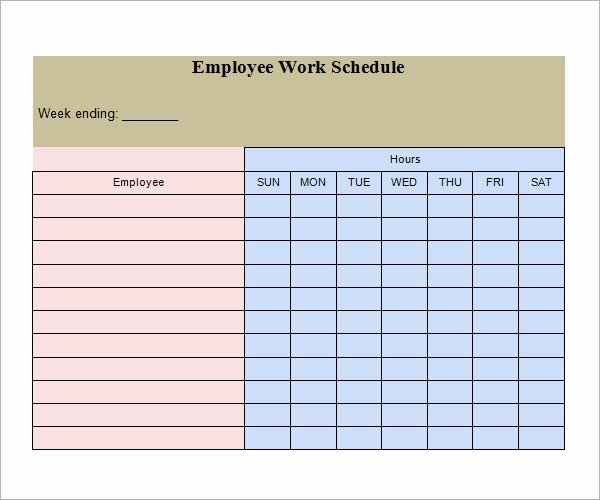 Employee Weekly Schedule Template Free Inspirational Work Schedule Template 15 Download Free Documents In