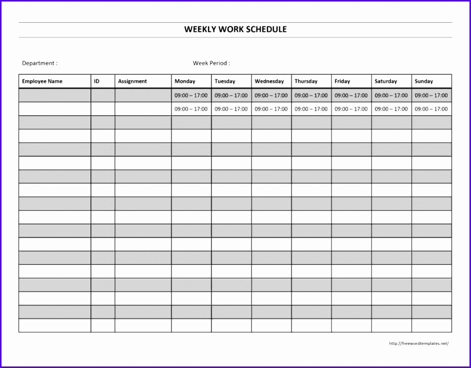Employee Weekly Schedule Template Free New 14 Free Excel Employee Schedule Template Exceltemplates
