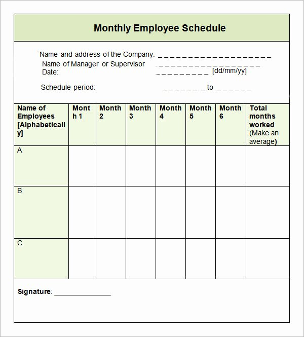 Employee Weekly Schedule Template Free New Sample Monthly Schedule Template 8 Free Documents In