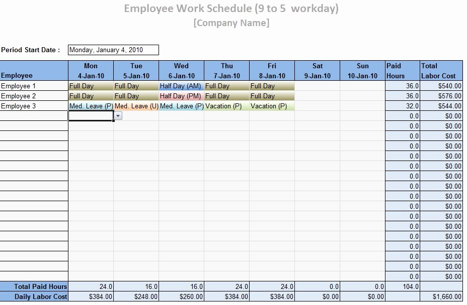Employee Weekly Schedule Template Free Unique Employee Work Schedule Template Word Excel