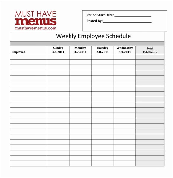 Employee Weekly Schedule Template Free Unique Restaurant Schedule Template 11 Free Excel Word