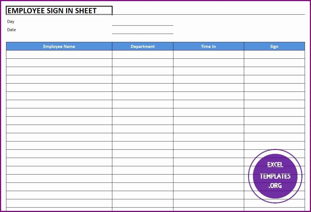 Employees Sign In Sheet Lovely Employee Sign In Sheet Template Excel Templates
