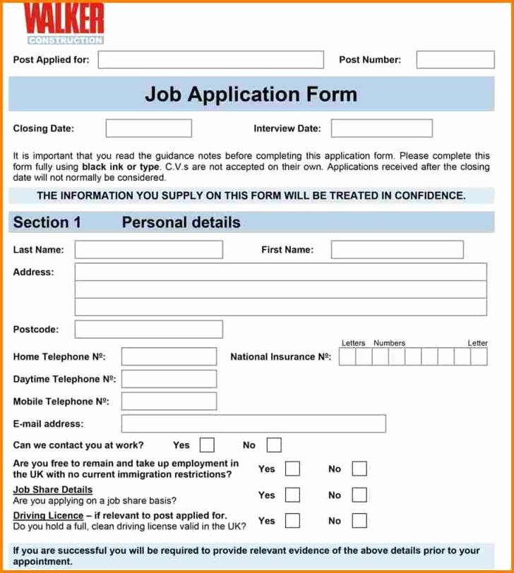 Employment Applications Printable Template Inspirational Free Printable Employment Applications Letter Examples Job