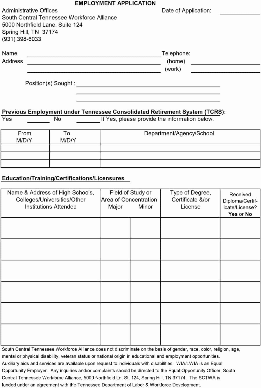 Employment Applications Printable Template New 50 Free Employment Job Application form Templates