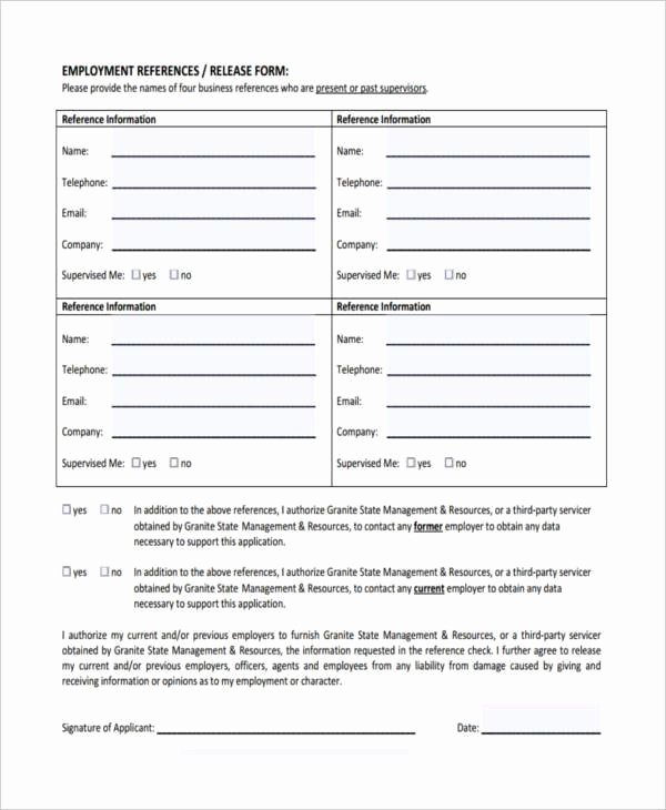Employment Reference Request form Beautiful Free Employment form Samples 35 Free Documents In Word Pdf