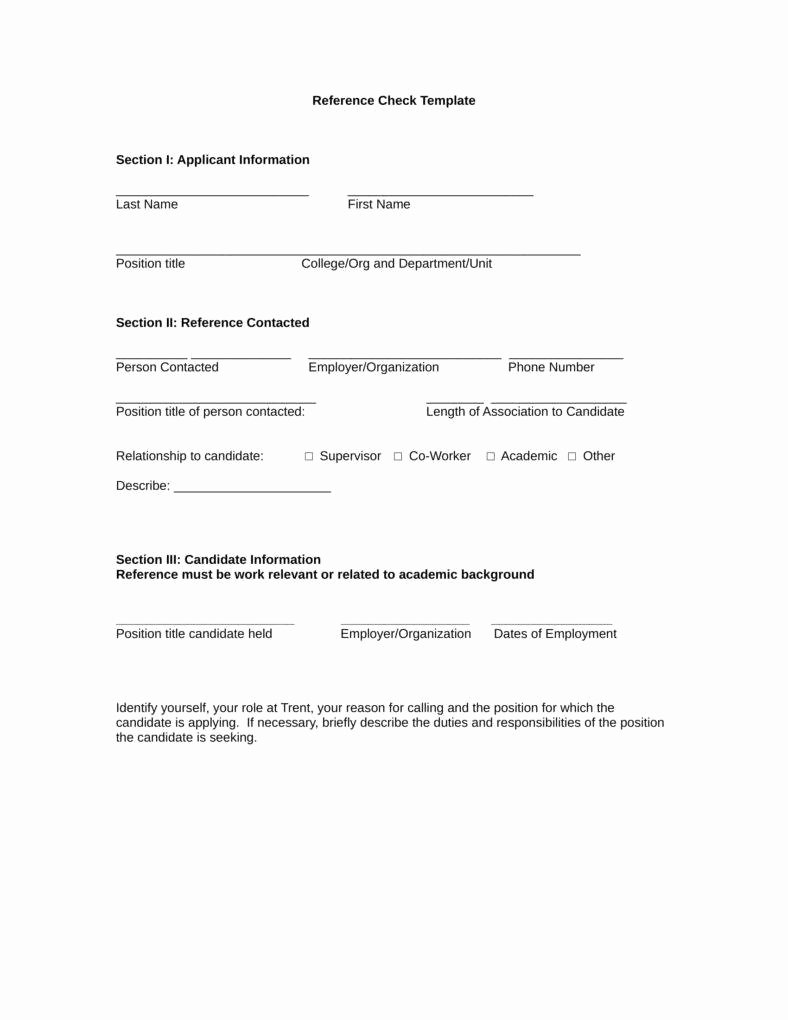 Employment Reference Request form Elegant 12 Reference Checking forms & Templates Pdf Doc