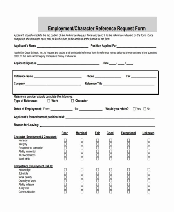 Employment Reference Request form Elegant Free Employment form Samples 35 Free Documents In Word Pdf