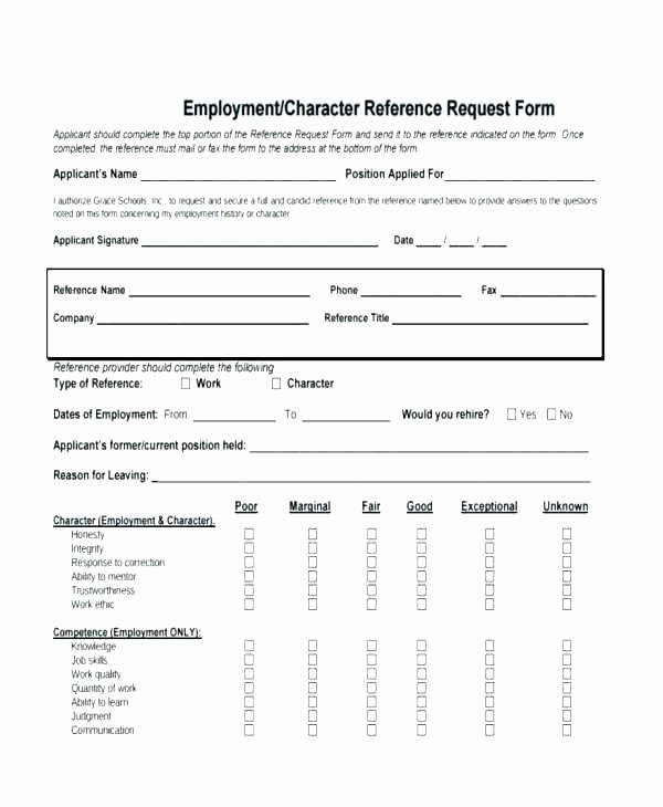 Employment Reference Request form Elegant Reference Template form Employment Request Uk Employee