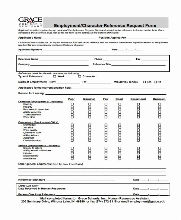 Employment Reference Request form Fresh Employment form Templates