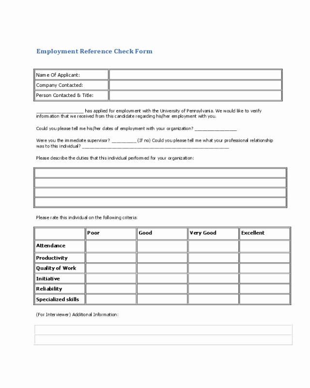 Employment Reference Request form Inspirational 2019 Employee Reference Check form Fillable Printable