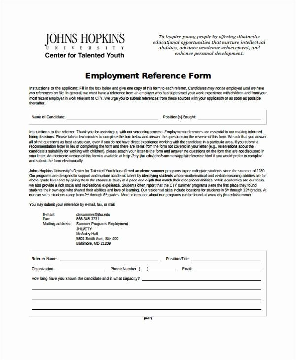 Employment Reference Request form Inspirational Employment form Templates