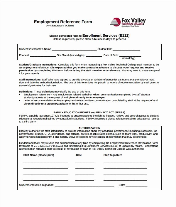 Employment Reference Request form New 5 Employment Authorization forms