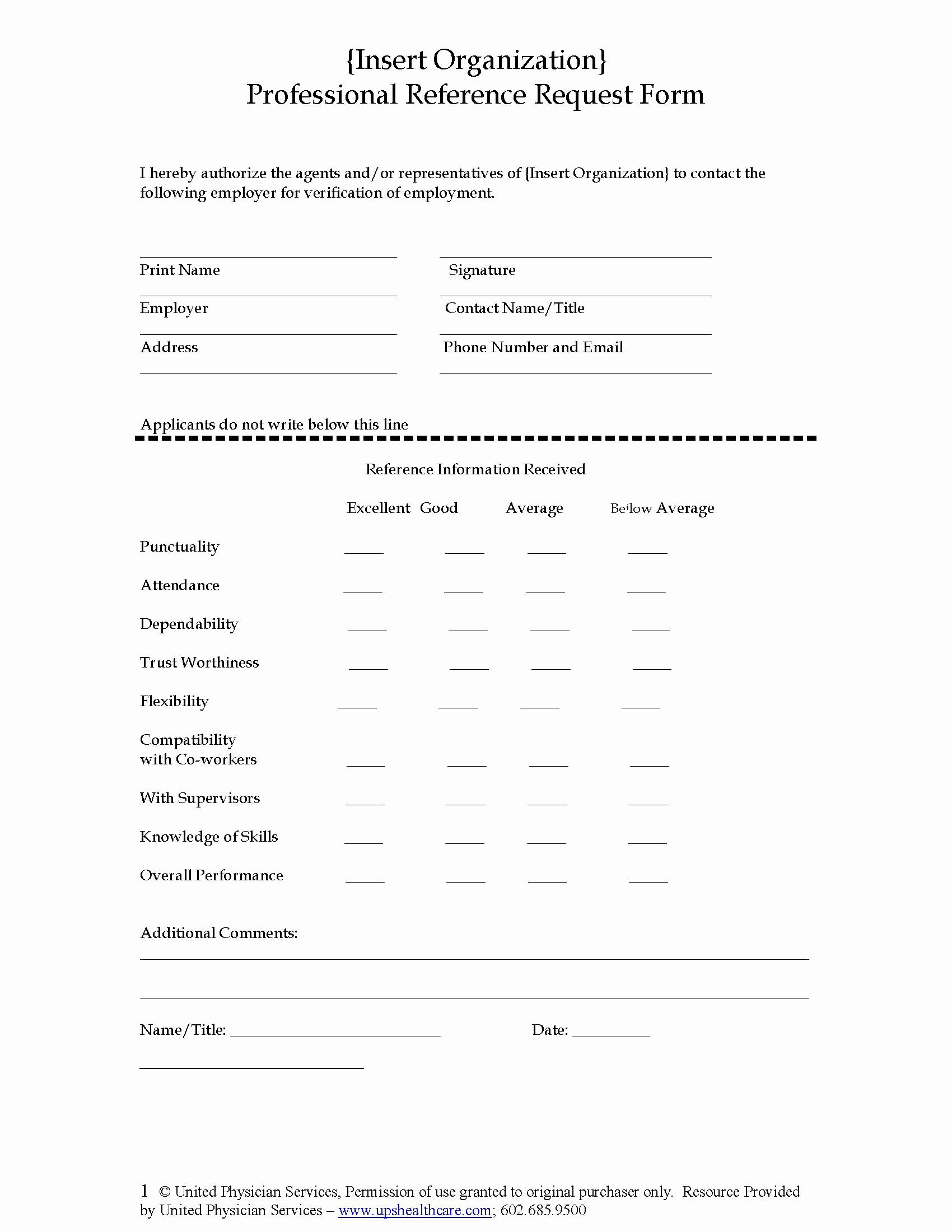 Employment Reference Request form Unique Professional Reference Request form