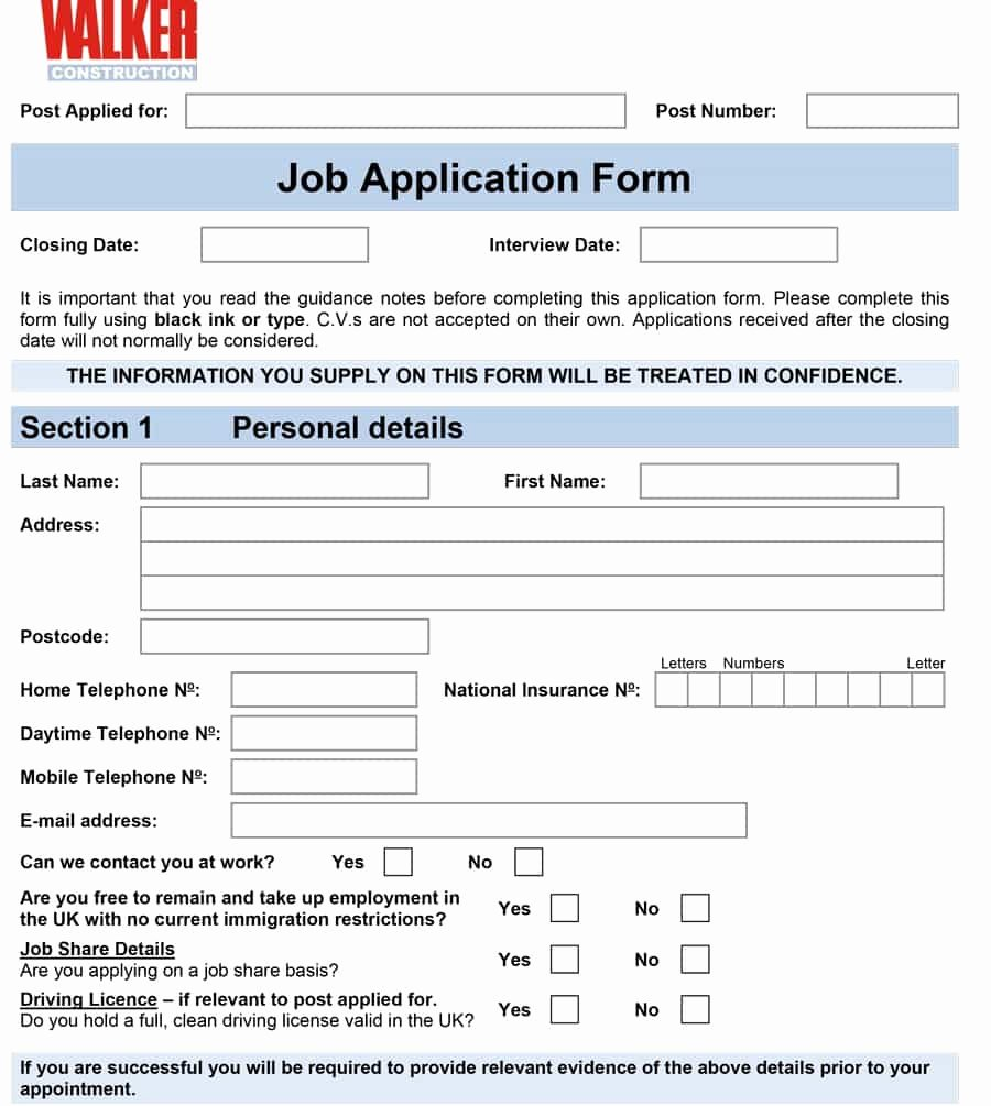 Employment Requisition form Elegant 50 Free Employment Job Application form Templates