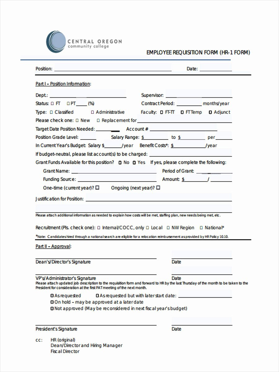 Employment Requisition form Inspirational 8 Employee Requisition forms Free Sample Example