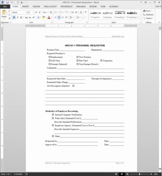 Employment Requisition form Inspirational Personnel Requisition Template