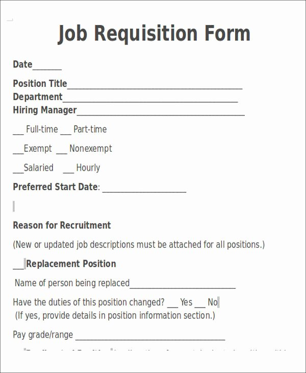 Employment Requisition form Luxury 22 Requisition forms In Doc