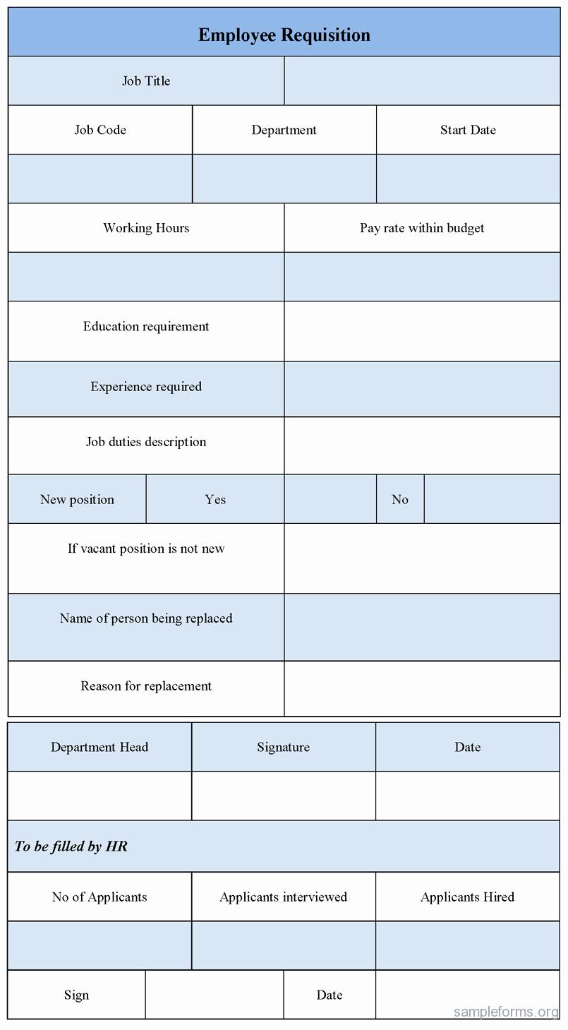 Employment Requisition form Unique Employee Requisition form Sample forms