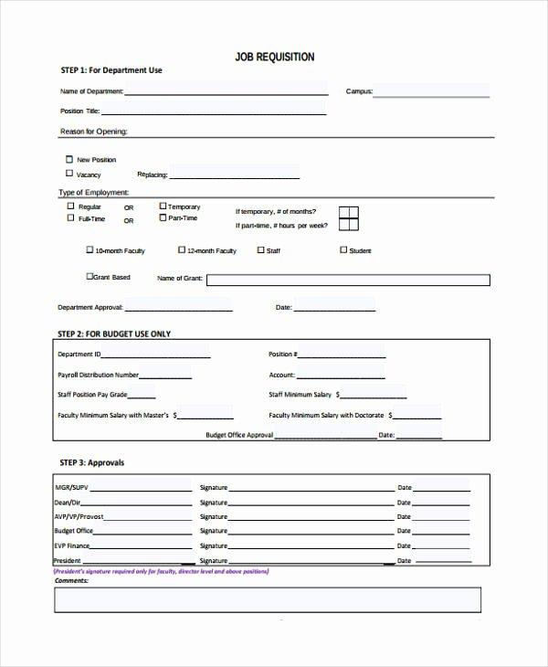 Employment Requisition form Unique Sample Requisition forms
