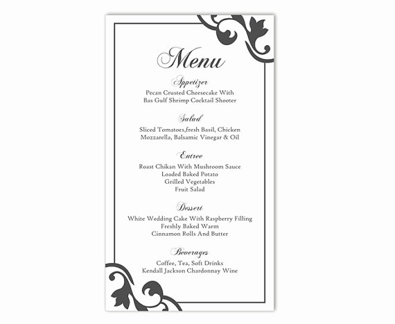 Encore Menu Template Unique Wedding Menu Template Diy Menu Card Template Editable Text