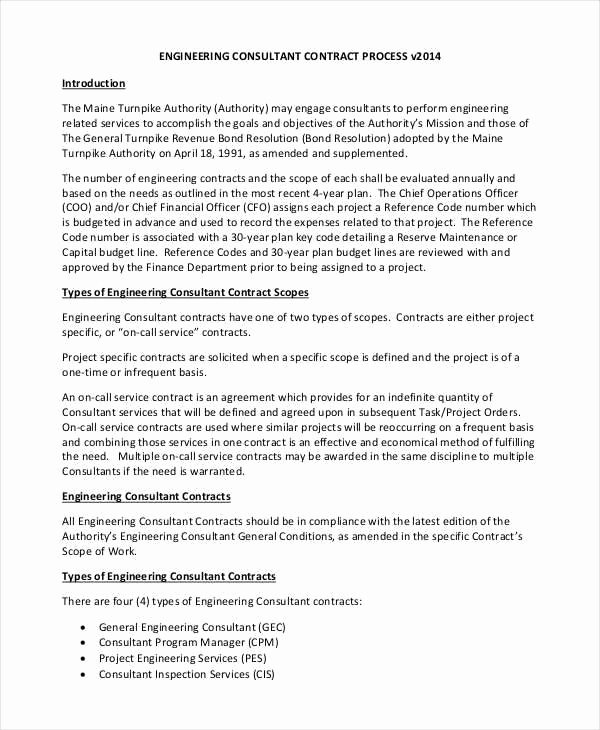 Engineering Contract Template Awesome 10 Consulting Contract Templates Sample Example