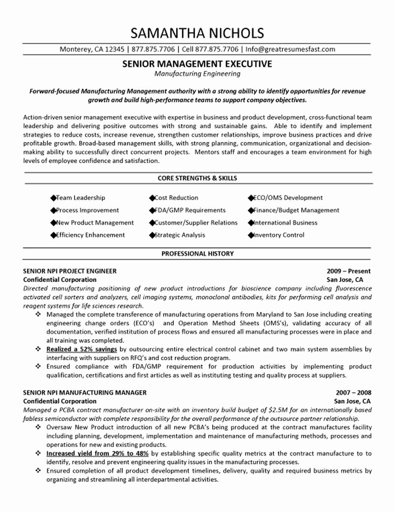 Engineering Contract Template Awesome Senior Management Executive Manufacturing Engineering