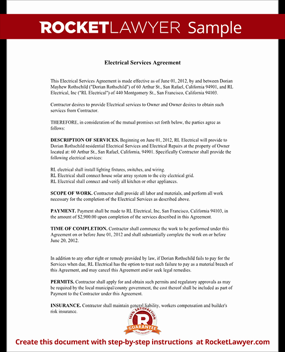 Engineering Contract Template Best Of Electrical Service Contract Agreement with Sample