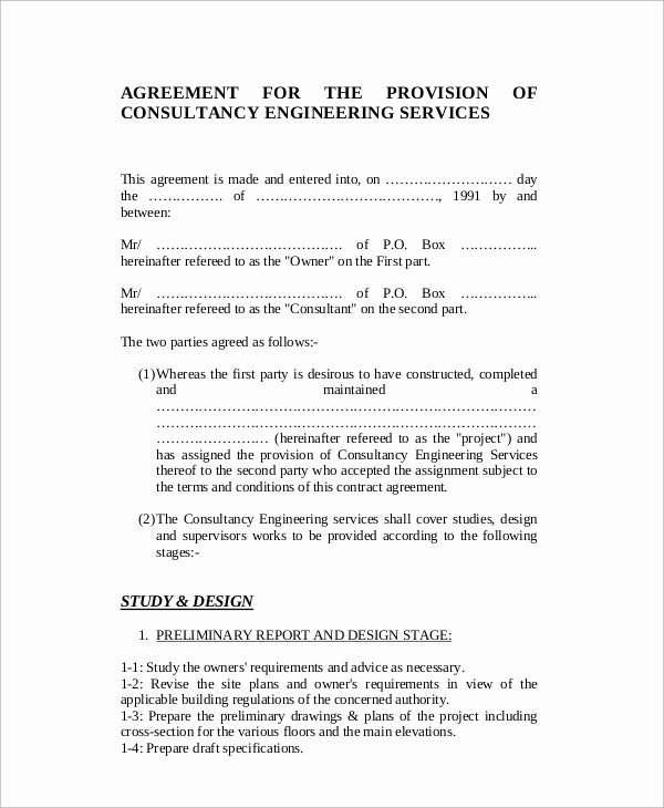 Engineering Contract Template Best Of Sample Standard Consulting Agreement 12 Documents In