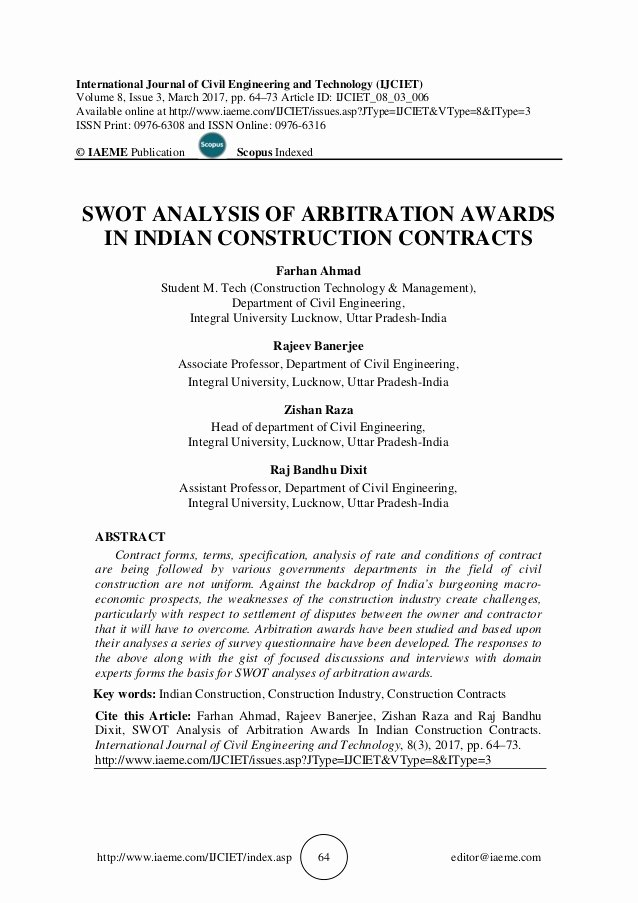 Engineering Contract Template Luxury Swot Analysis Of Arbitration Awards In Indian Construction