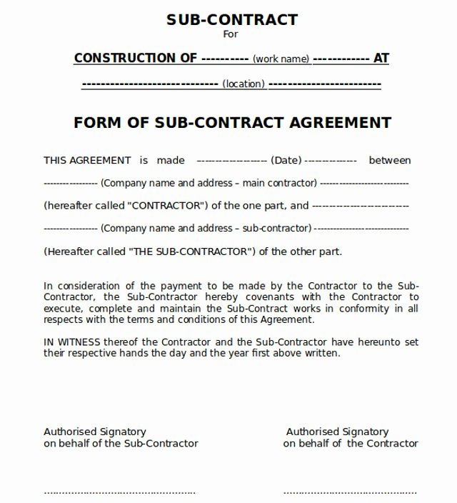 Engineering Contract Template New Conditions Sub Contract Agreement In Construction