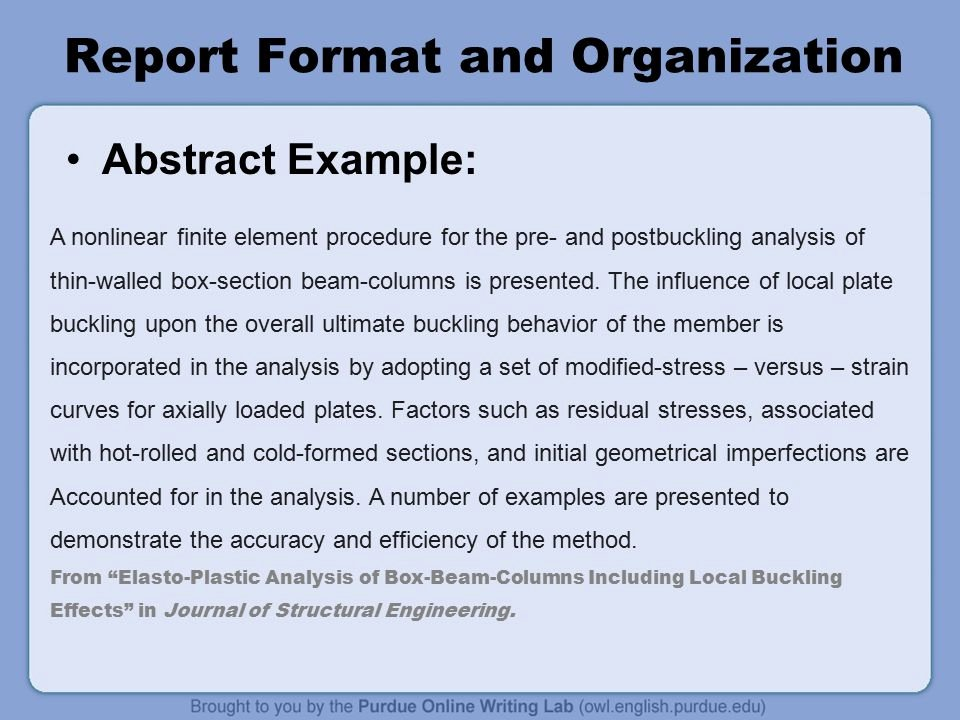Engineering Report Example Awesome Writing Engineering Reports Ppt