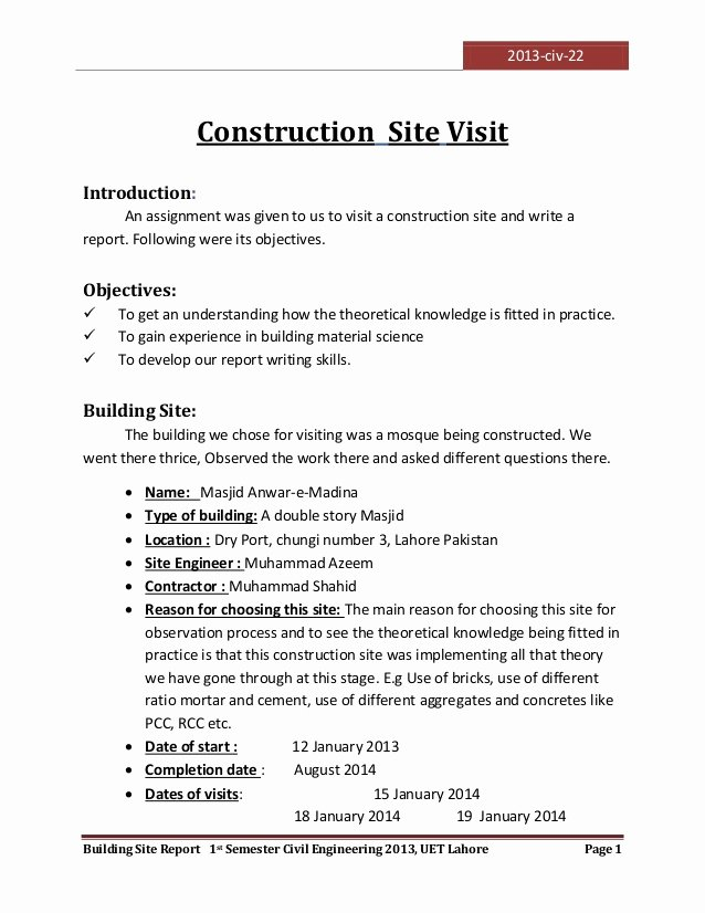 Engineering Report Example Elegant Visit to A Construction Site
