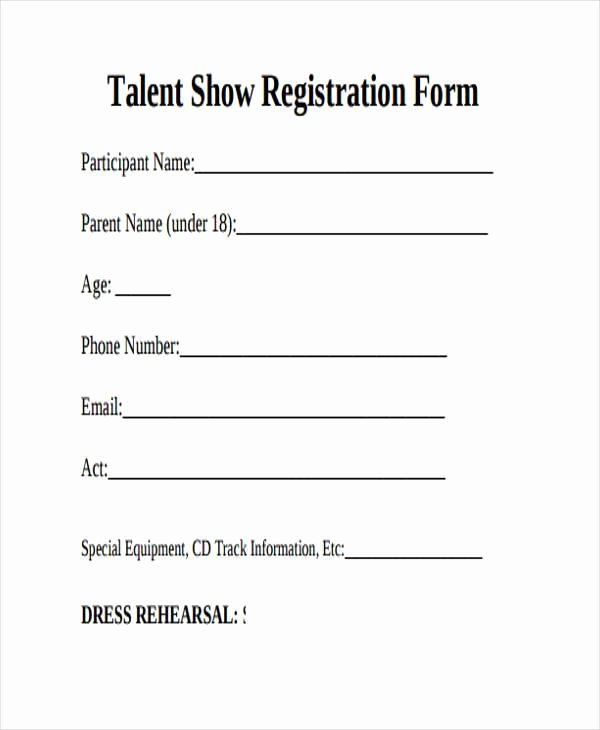 Entry form Template Free Awesome 10 Talent Show Registration form Samples Free Sample