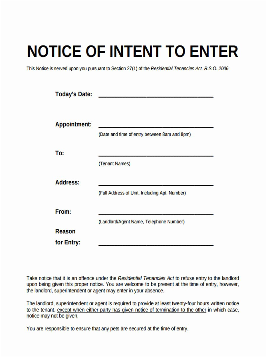 Entry form Template Word Lovely Notice Of Entry forms 6 Free Documents In Word Pdf