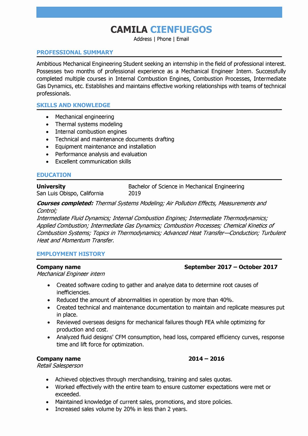 Entry Level Mechanical Engineering Resume Beautiful Mechanical Engineer Resume Samples and Writing Guide [10