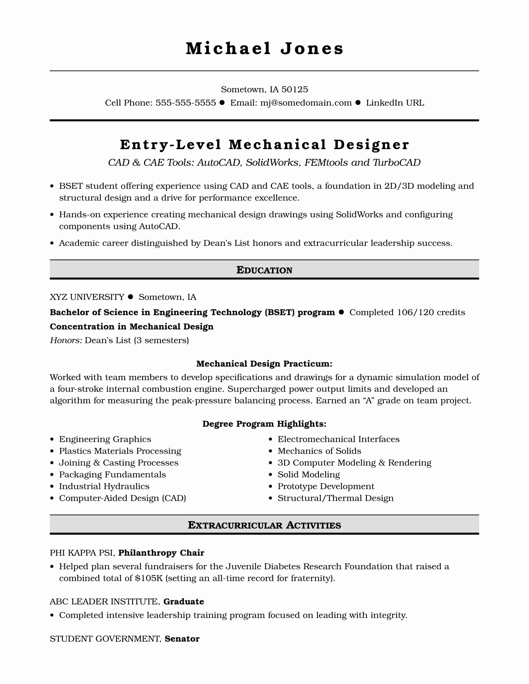 Entry Level Mechanical Engineering Resume Beautiful Sample Resume for An Entry Level Mechanical Designer