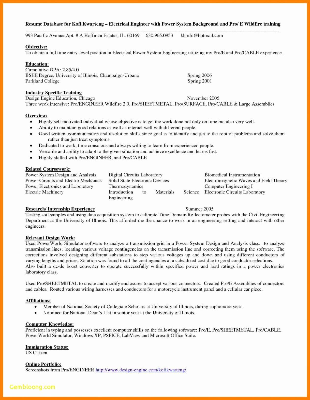 Entry Level Mechanical Engineering Resume Elegant 8 9 Mechanical Engineering Resumes Samples