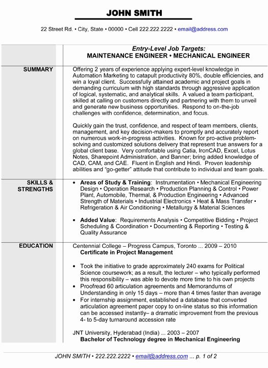 Entry Level Mechanical Engineering Resume Elegant Maintenance or Mechanical Engineer Resume Template Want