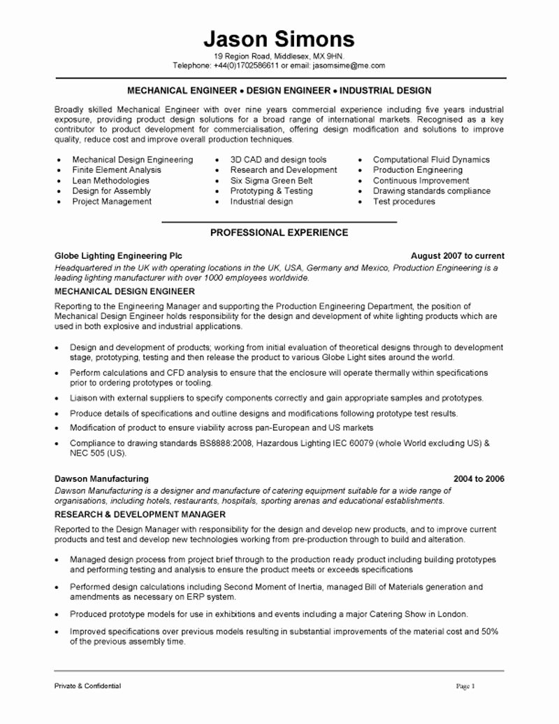 Entry Level Mechanical Engineering Resume Elegant Mechanical Engineering Resume Examples Google Search