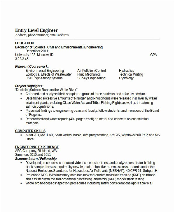 Entry Level Mechanical Engineering Resume Lovely Engineering Resume Template 32 Free Word Documents