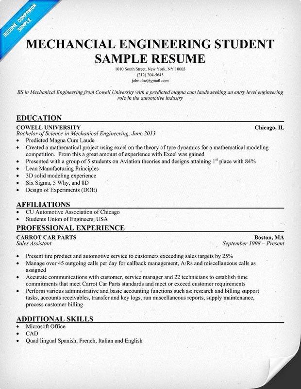 Entry Level Mechanical Engineering Resume Lovely Mechanical Engineering Student Resume Resume Panion