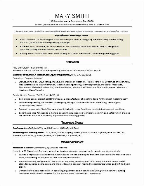 Entry Level Mechanical Engineering Resume Lovely Sample Resume for An Entry Level Mechanical Engineer