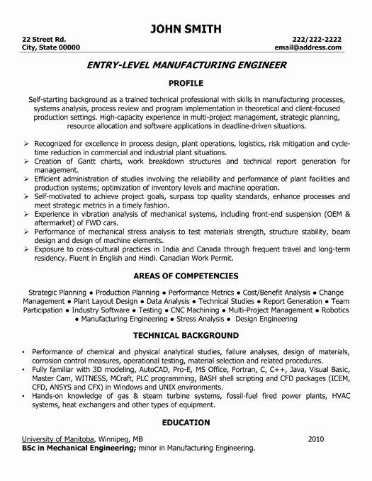 Entry Level Mechanical Engineering Resume Luxury Entry Level Manufacturing Engineer Resume Template