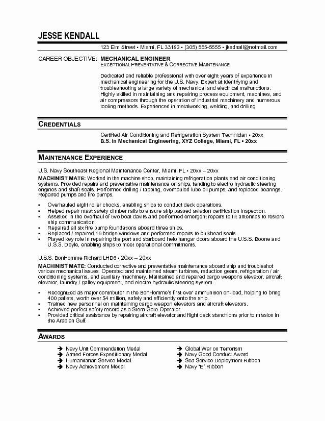 Entry Level Mechanical Engineering Resume Luxury Resume format Pdf for Mechanical Engineering – Job Resume