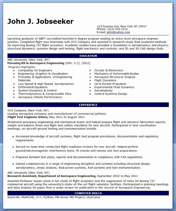 Entry Level Mechanical Engineering Resume New Entry Level Aerospace Engineer Resume Sample