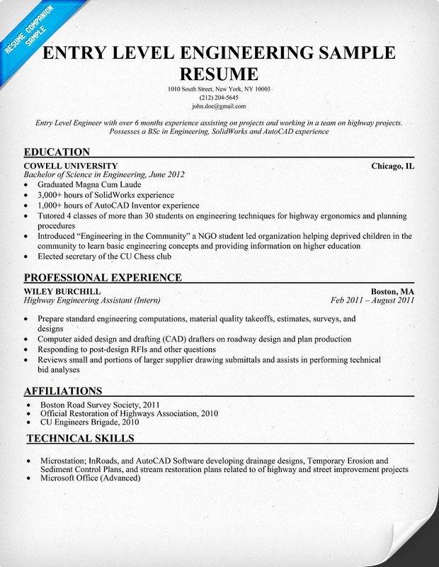 Entry Level Mechanical Engineering Resume New Entry Level Engineering Sample Resume Resume Panion