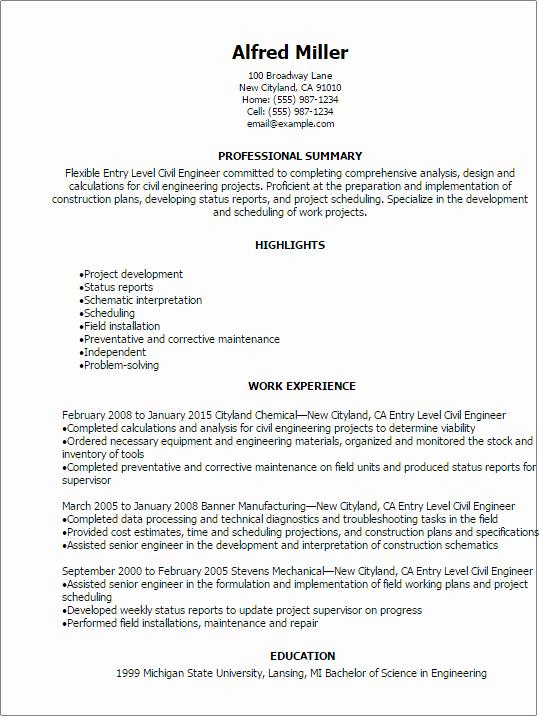 Entry Level Mechanical Engineering Resume Unique Civil Engineer Resumes Resume Sample