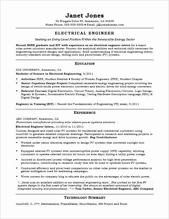 Entry Level Mechanical Engineering Resume Unique Entry Level Electrical Engineer Sample Resume