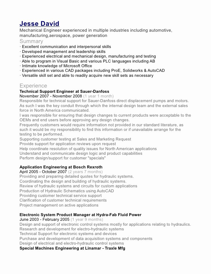 Entry Level Mechanical Engineering Resume Unique Jesse David Mechanical Engineer